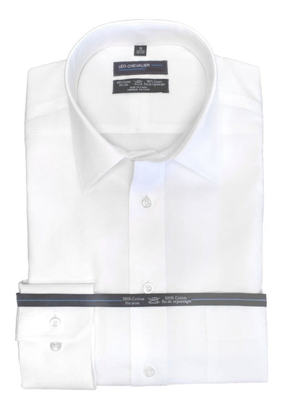 Leo Chevalier Dress Shirt - White 100% Cotton - Non Iron