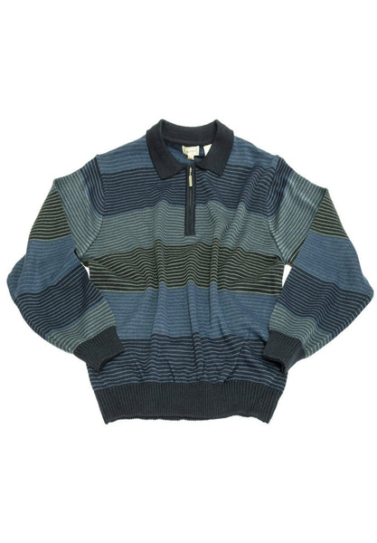 Cavori Jacquard Stripe Sweater, Polo Collar 448620 1998