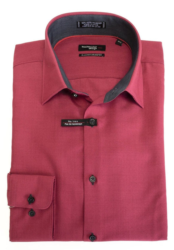Ruby Red Tapered Dress Shirt - Leo Chevalier Design