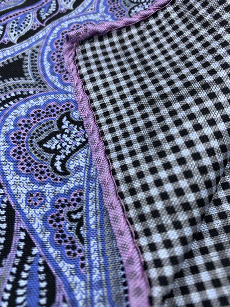 Dion pocket square - Purple black blue- 100% silk