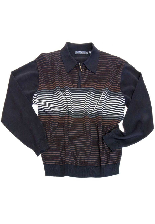 Leo Chevalier 324651 Striped Sweater Polo Collar with ¼ Zip