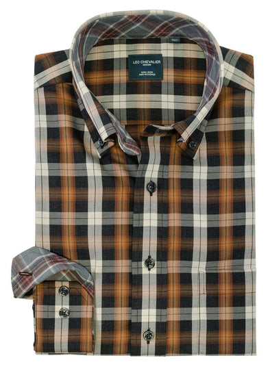 Leo Chevalier L/S Non-Iron Button-Down Sport Shirt - Chestnut - 525491 2898