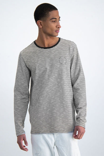 Garcia Striped Light Sweater - Dark Moon - O01014 292