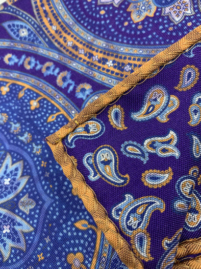 Dion Pocket Square 100% Silk - Purple orange paisley