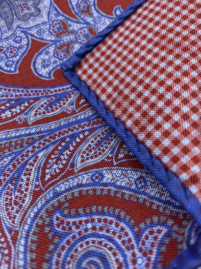 Dion Pocket Square - Red Blue Wheel - 100% Silk