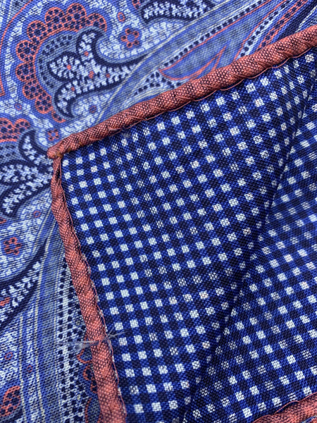 Dion Pocket Square - Blue Pink Paisley - 100% Silk