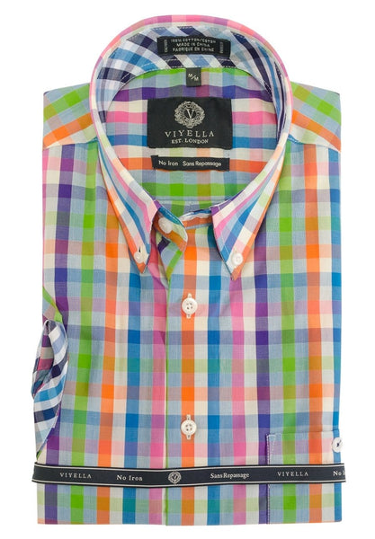 Viyella Short Sleeve Orange Green Blue Multi Paid Sport Shirt 552336 9000