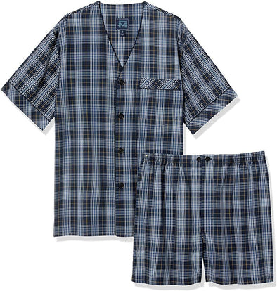 Majestic Shorty Pyjama - Navy Plaid - 12135195 422