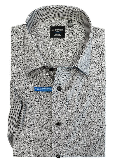 Mens 100% Cotton Non-Iron Print Spread Collar S/S Sport Shirt *Tall Sizes Only* 524362