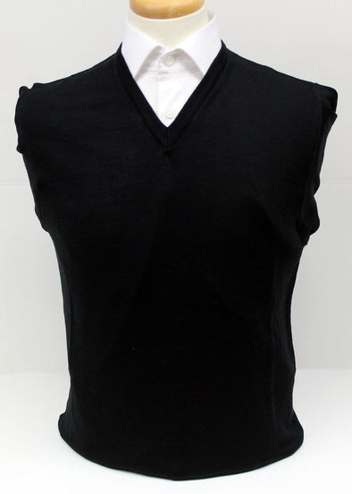 Serica 100% Wool V-Neck Sweater - Black - 99070-99