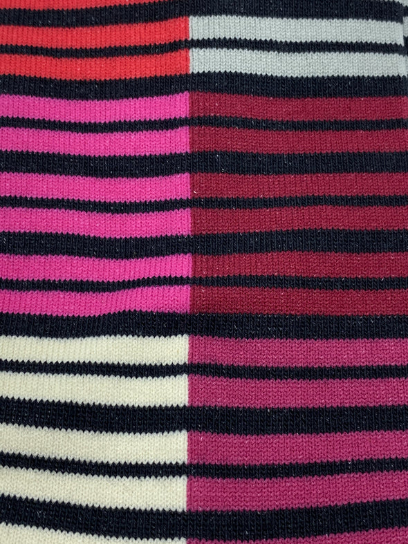 McGregor Cotton Blend Dress Sock - MMJ120-00- Pink Red and Black Stripes