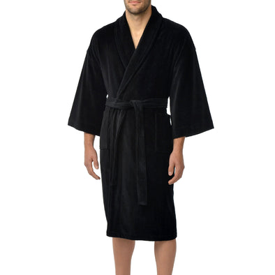 Solid Terry Velour Shawl Robe - Black - 1871114