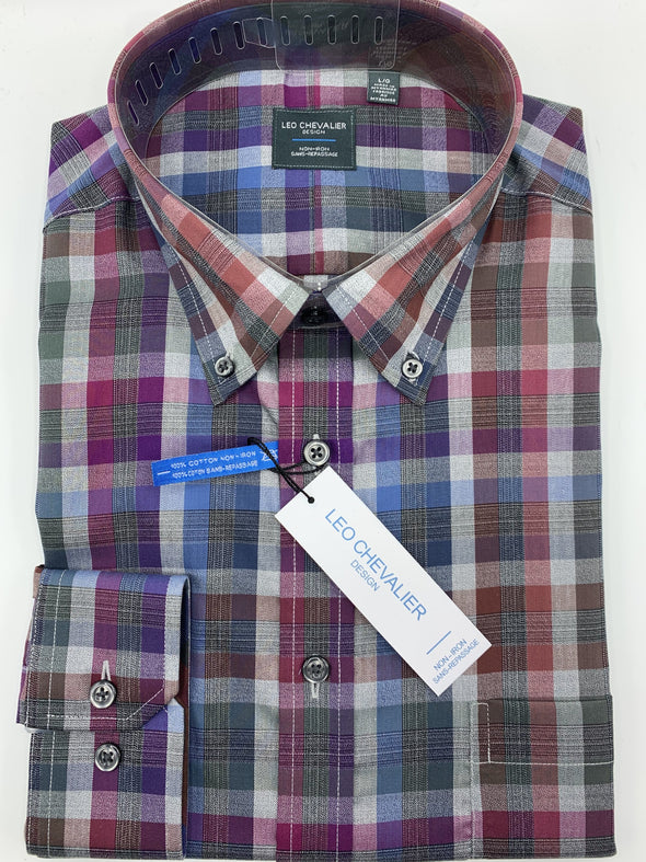 Purple Plaid Non-Iron Dress Shirt-Leo Chevalier-523498 8898