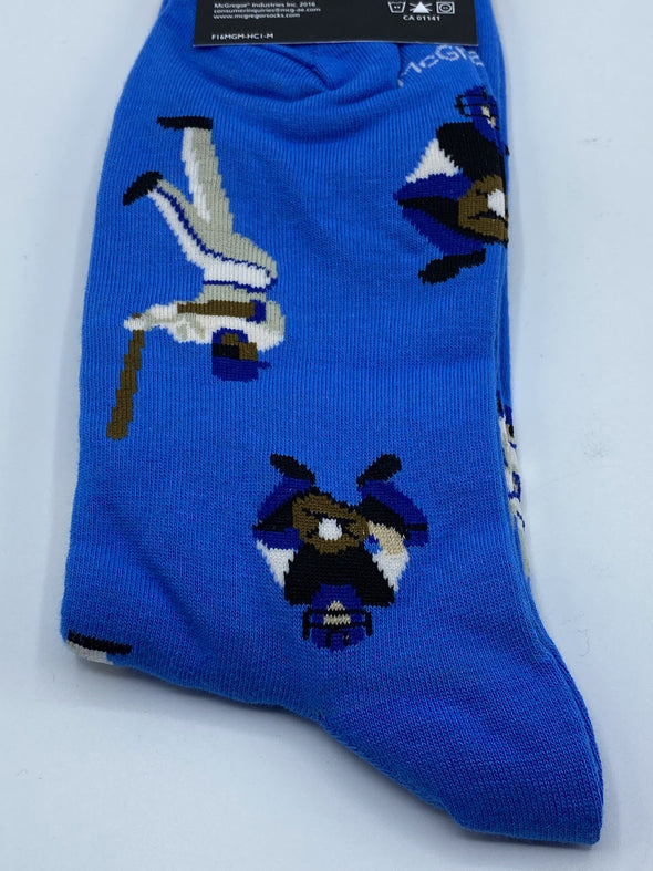 McGregor Cotton Blend Dress Sock - MMJ126-N44- Blue Baseball Player Socks