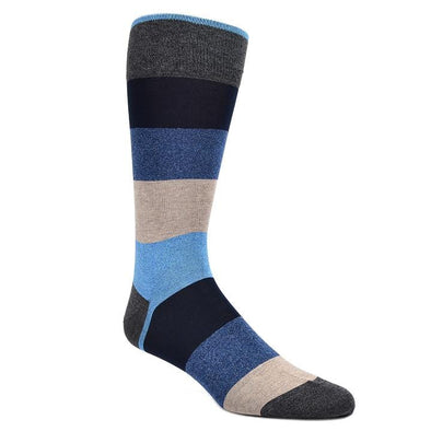 Dion Dress Socks Blue Black Tan Striped 0120 01