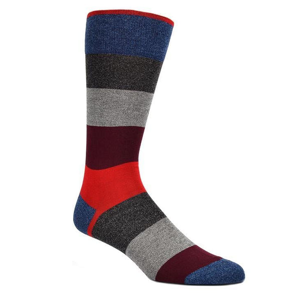 Dion Dress Socks Blue Black Red Striped 0120 03