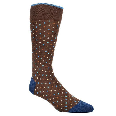 Dion Dress Socks Brown Small Polka Dot Pattern Socks 0720 02