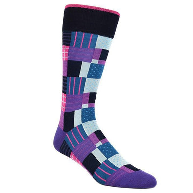 Dion Dress Socks Pink Purple Quilted Pattern Socks 1020 03