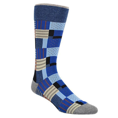 Dion Dress Socks Blue Quilted Pattern Socks 1020 04