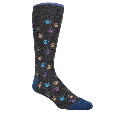 Dion Dress Socks Grey Paw Prints 1520 04