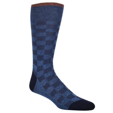 Dion Dress Socks Light Blue Checkered Board 1720 02