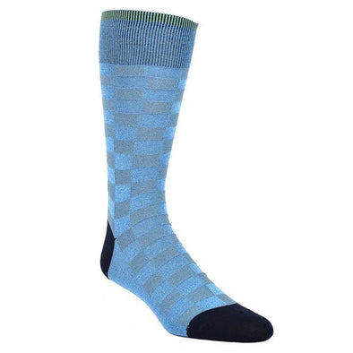 Dion Dress Socks Grey Blue Checkered Board 1720 05