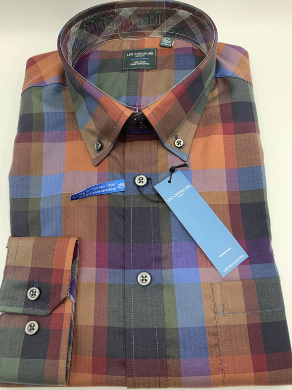 Multi Coloured Plaid Non-Iron Dress Shirt-Leo Chevalier-523497 9098