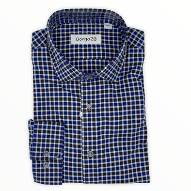 Borgo28 Navy and Brown Check L/S Sport Shirt - BBF9W127 410