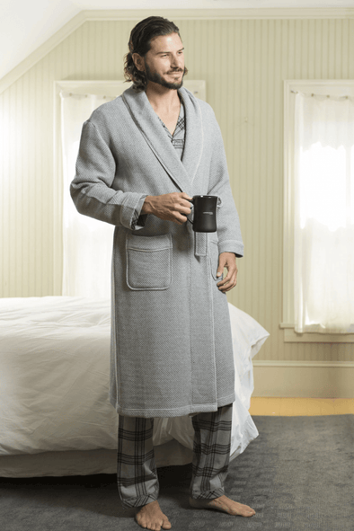 Majestic Weathered Honeycomb Robe - Fog - 12008110