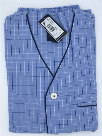 Majestic Shorty Pajama Light Blue Check 3062042 460