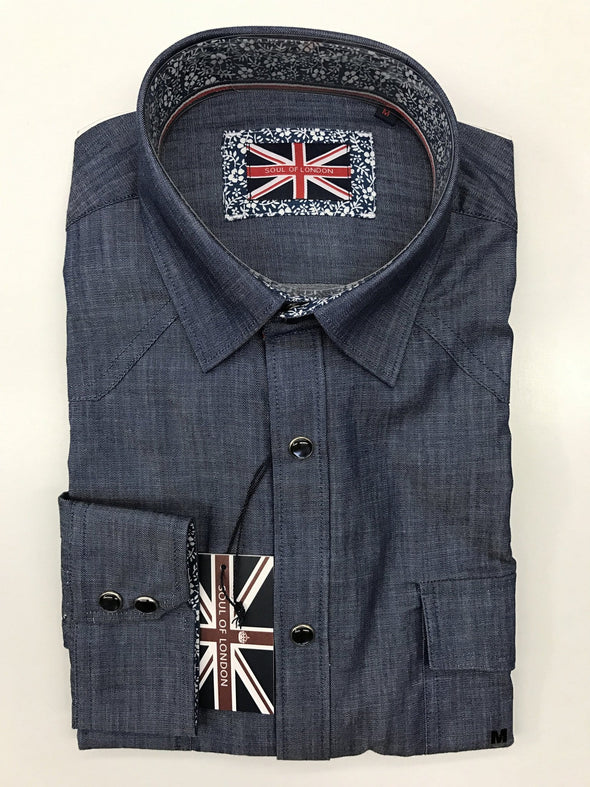 EXTRA LARGE Soul of London Denim Snap Front Shirt