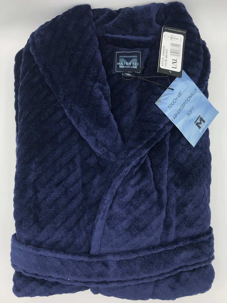 Majestic Fireside Big and Tall Plush Robe 11816610 400 Navy