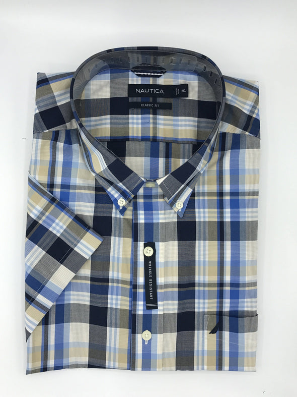 Nautica Big and Tall Wrinkle Resistant Short Sleeve Sport Shirt M71C12
