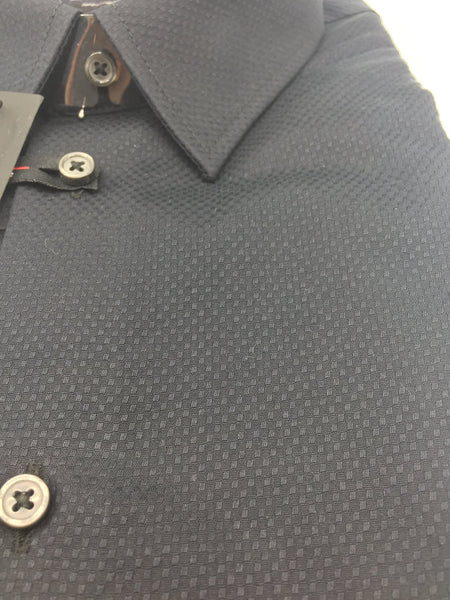 Leo Chevalier Fitted Textured Black 100% Cotton No Iron Dress Shirt
