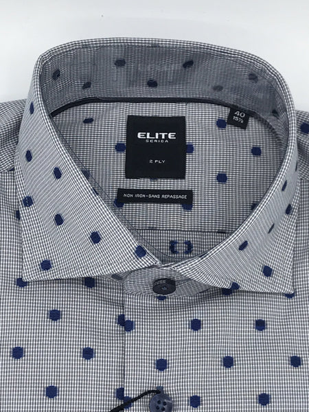 Serica Elite Dress Shirt - Grey Check with Blue Dot E175505930