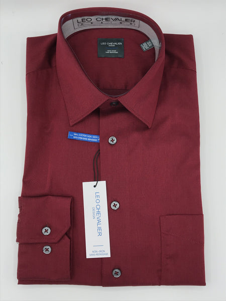 Leo Chevalier Dress Shirt 225121 Dark Red