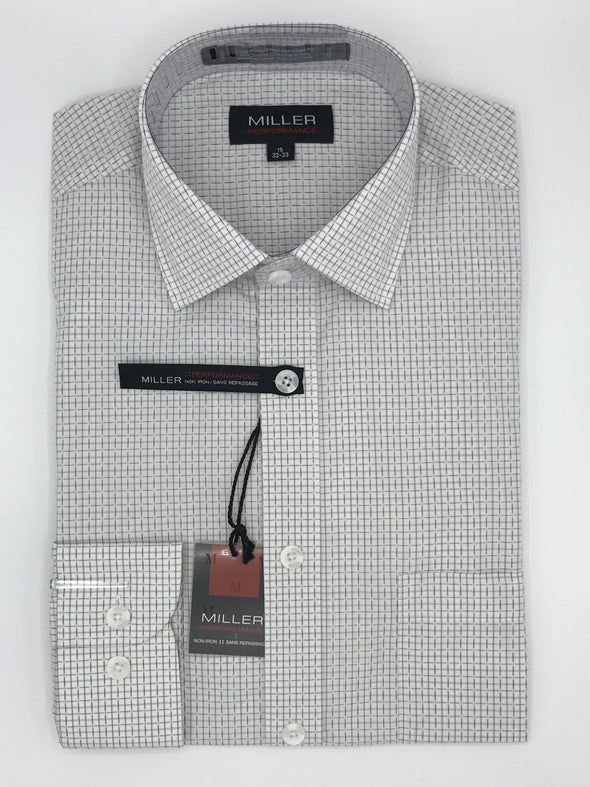 Miller Performance Dress Shirt - White Check 52706