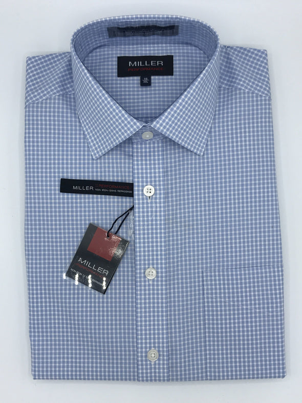 Miller Performance Dress Shirt - Pale Blue Check 53856