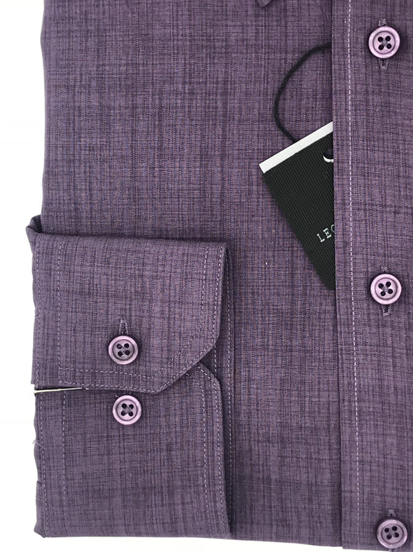 Leo Chevalier Purple Micro Polyester Dress Shirt 225156 8998