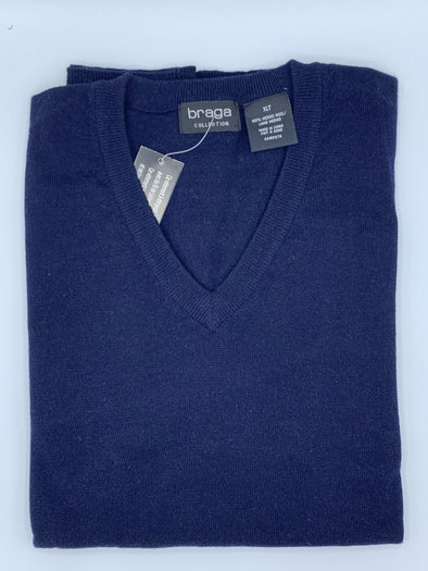 Braga V-Neck Navy Big and Tall Sweater WXM201