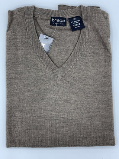 Braga V-Neck Camel Big and Tall Sweater WXM201