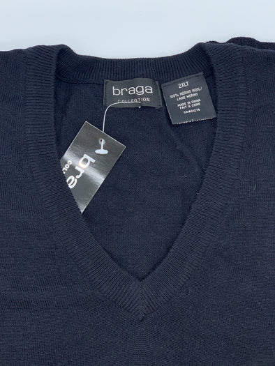 Braga V-Neck Black Big and Tall Sweater WXM201