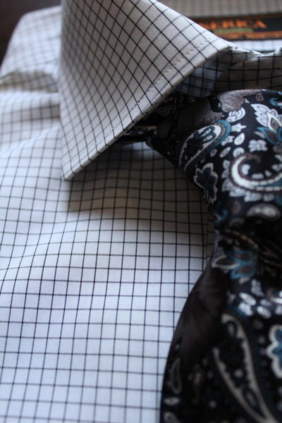 Serica Classics Non-Iron Dress Shirt - Black and White Check