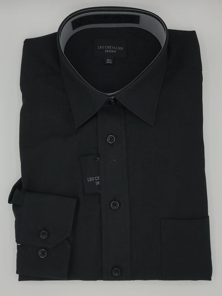 Leo Chevalier Black Micro Polyester Dress Shirt 225156 8998
