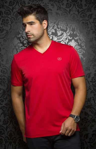 Au Noir Red V-Neck T-Shirt Michael-V