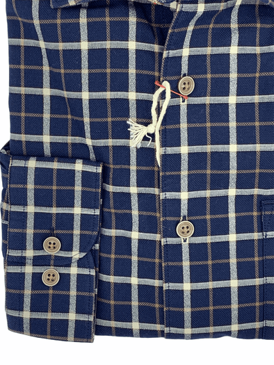 Borgo28 Navy Pumpkin Plaid L/S Sport Shirt - BBF9W131 410