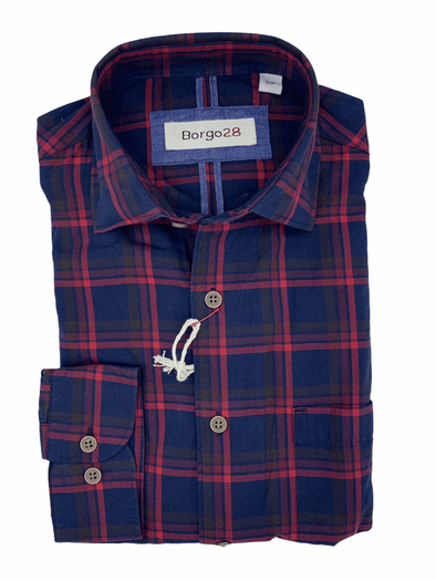 Borgo28 Raspberry and Navy Plaid L/S Sport Shirt - BBF9W128 658