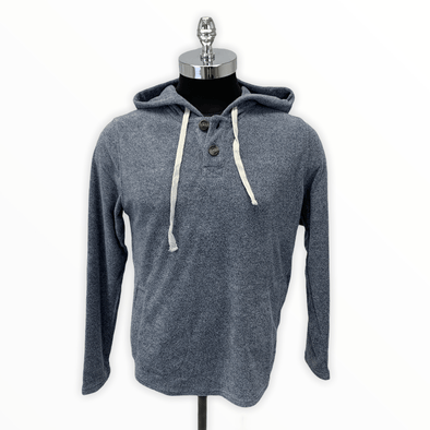 Borgo28 2-button Terry Cloth Hoodie - Navy - BHF9K013 410