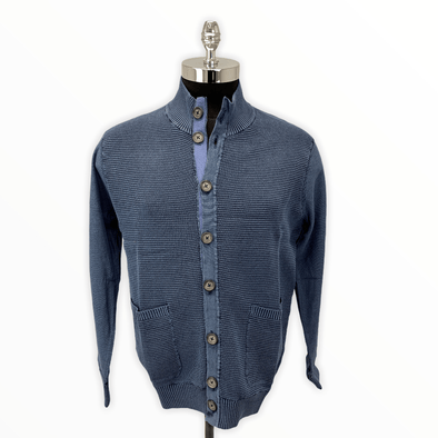 Borgo28 Textured Full-Button Cardigan - Blue - BBF8S700