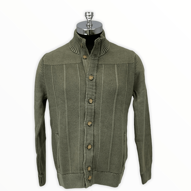 Borgo28 Textured Full-Button Cardigan - Olive - BBF8S483